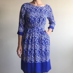 Anthro Shoshana Floral Silk Dress